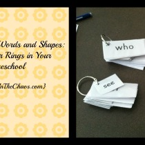 "Sight Words and Shapes"" Using Binder Rings in Your Homeschool {QuietInTheChaos.com}"