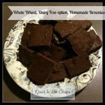 Whole Wheat, Dairy Free-Option, Homemade Brownies {QuietintheChaos}