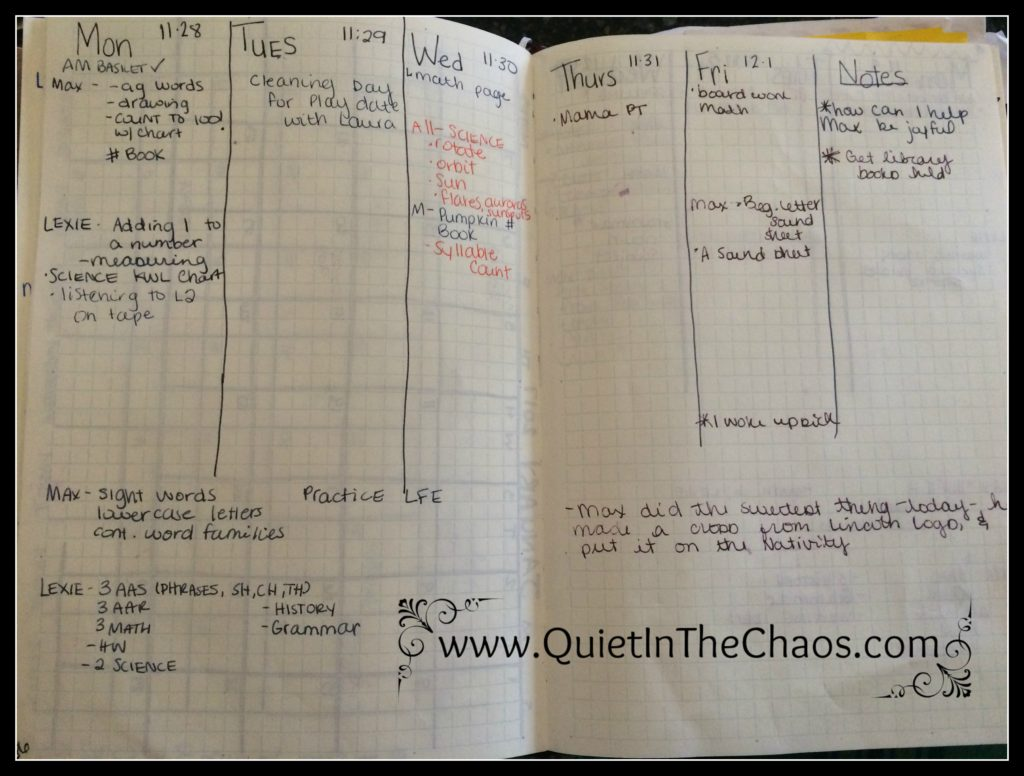 Homeschool Weekly Plan