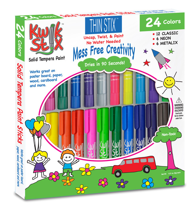 Easy, allergy and mess free art supplies- tempera paint sticks. Dry in 90 seconds, no cracks after drying, smooth, shiny finish. Fun and safe creativity!