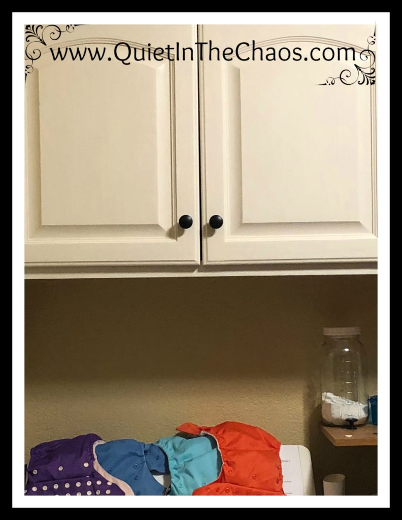 Chalk Painted Laundry Room Cabinets